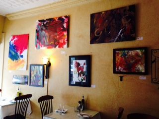 Justin's paintings on display at Tre Bicchieri Italian Restaurant