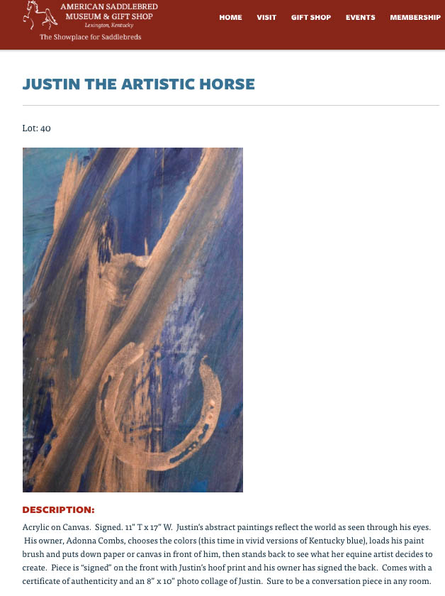 """Blew By You"" Original painting by Justin The Artistic Horse up for auction"